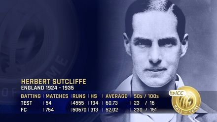 ICC Hall of Fame: Herbert Sutcliffe | A cool and calm batsman