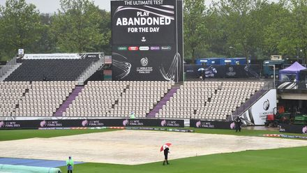 An image of the wet outfield at the Hampshire Bowl in Southampton, where the first day's play of the ICC World Test Championship Final between India and New Zealand was washed out.