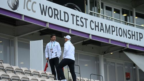 Match Officials at the Hampshire Bowl in Southampton, where the first day's play in the ICC World Test Championship Final between India and New Zealand was washed out.