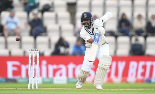 Ajinkya Rahane, who top-scored for India with 49, places one through the off on the third day of the ICC World Test Championship Final against New Zealand in Southampton.