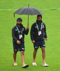 Indian players Ajinkya Rahane and Cheteshwar Pujara return after inspecting the ground conditions at the Hampshire Bowl in Southampton on the fourth day of the ICC World Test Championship Fina. Photo credit @ICC