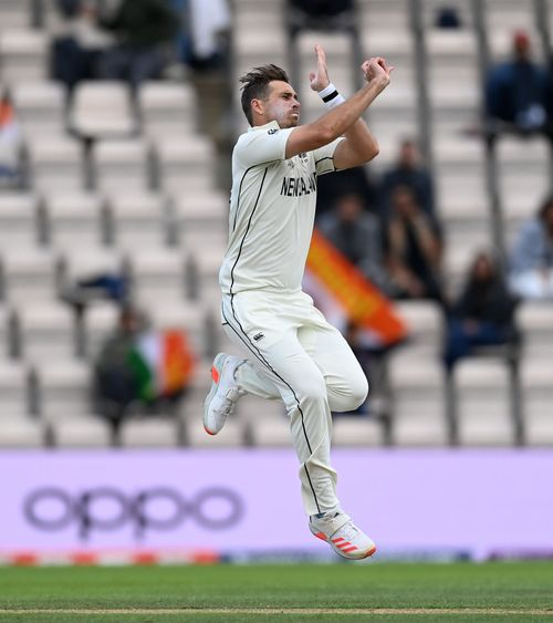 New Zealand fast bowler Tim Southee in action on the fifth day of the ICC World Test Championship Final against India in Southampton. Picture credit @ICC