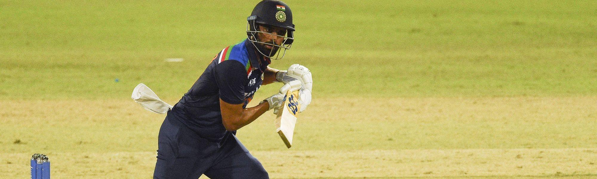 Deepak Chahar in action against Sri Lanka