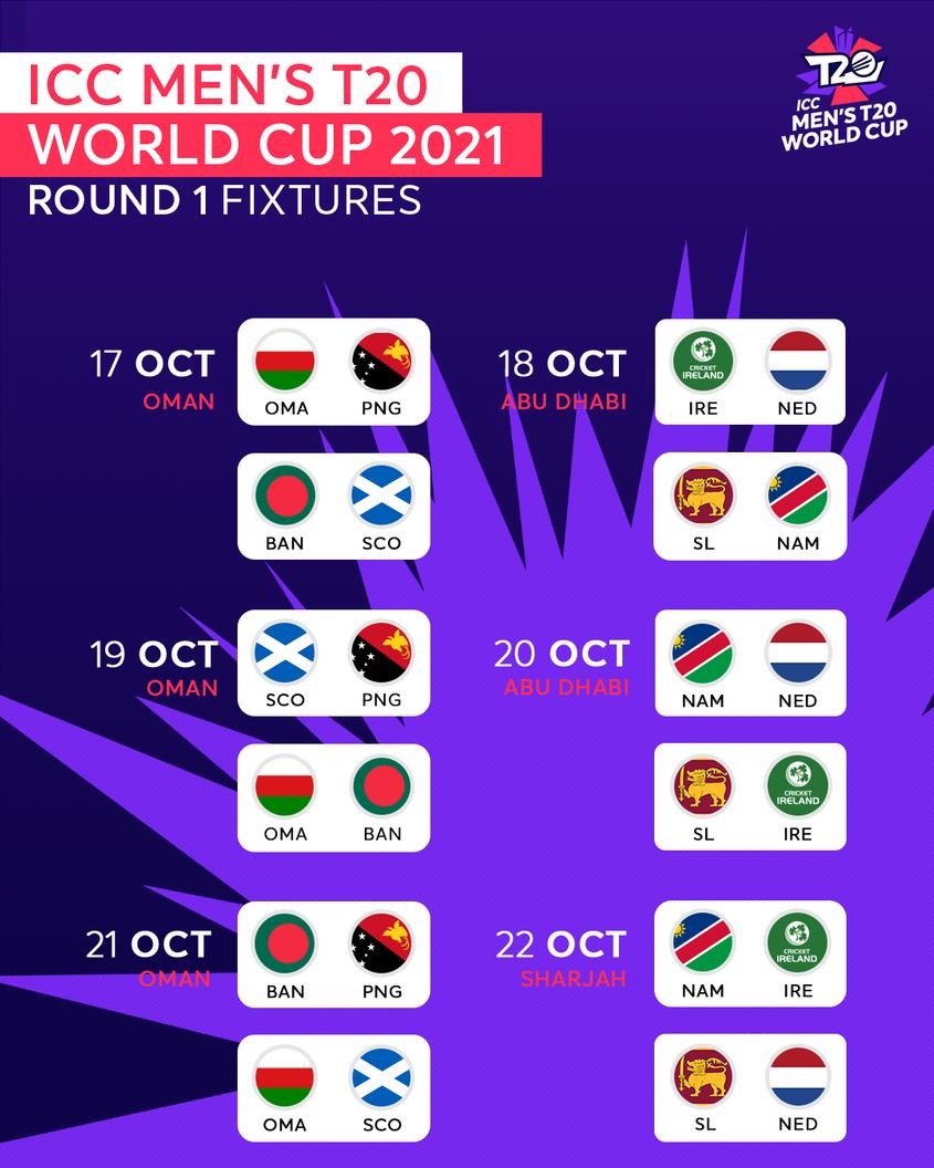 T20 वर्ल्ड कप 2021 शेड्यूल – अंतर्राष्ट्रीय क्रिकेट परिषद (ICC)