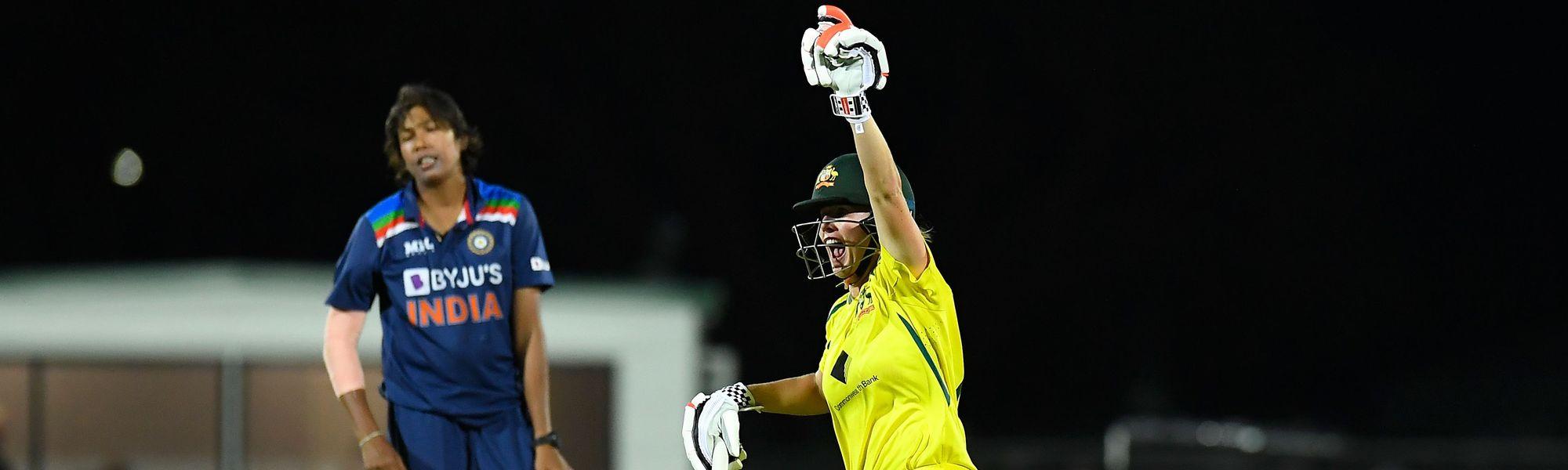 Beth Mooney celebrates Australia's victory