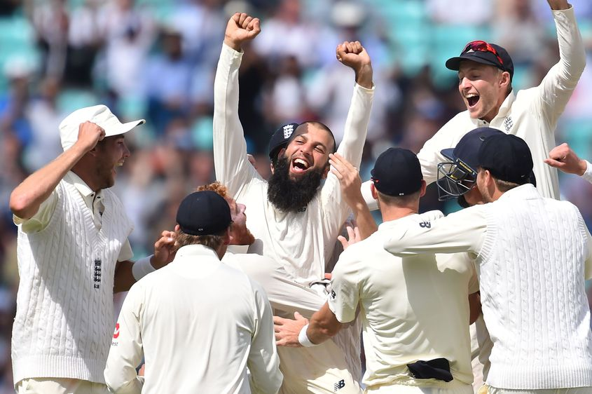 Moeen Ali celebrates his hat-trick against South Africa.