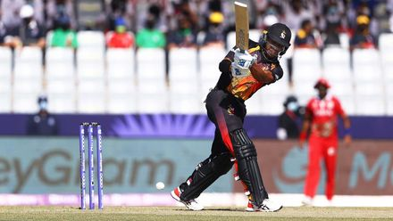 Charles Amini hits first six of T20 World Cup 2021